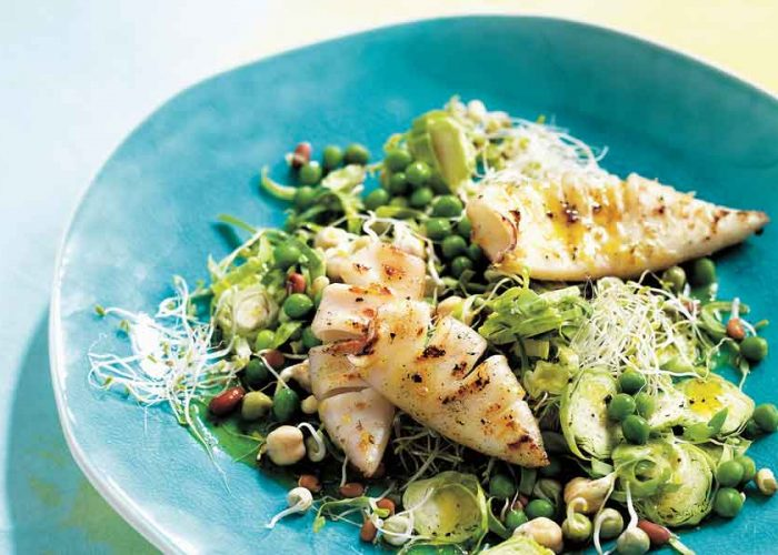 MICHELLE BRIDGES' LEMON PEPPER SQUID WITH SPROUTS